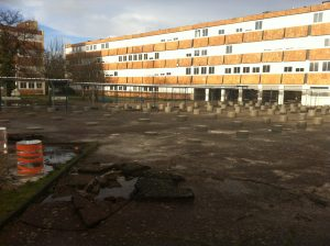 piliers de soutènement du chantier Aqio au Lycée Daguin à Mérignac