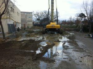 Foreuse du chantier Lycée Daguin de mérignac par Aqio