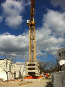 Grue du chantier Lycée Daguin à Mérignac par Aqio