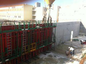 construction mur du refectoire lycée Daguin à mérignac par Aqio