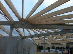 construction toit - coupole poutre lycée Daguin Mérignac
