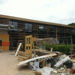 lycée pape clément façade en construction avec échafaudage